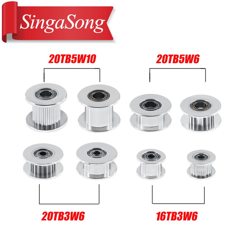 5pcs GT2 Idler Timing Pulley 16/20 Tooth Wheel Bore 3/5mm Aluminium Gear Teeth Width 6/10mm 3D Printers Parts For Reprap Part-in Pulleys from Home Improvement