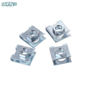 New 4 Pcs Car License Plate Fastener Buckle Metal Screw Nut U-Type Clips Retainer 6mm Nov30 image