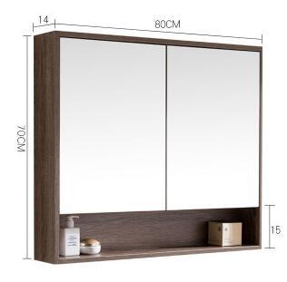 Le meuble miroir de salle de bain. Accrocher le mur. Type étagère suspendue au boîtier d'objectif de salle de bain.
