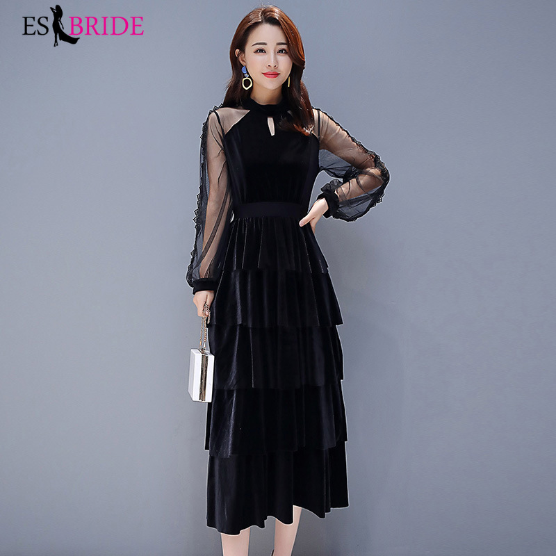 Black   Evening     Dresses   Fashion Cake   Dress   Tulle Lantern Sleeve   Evening   Gown Elegant   Evening     Dress   2019 Robe De Soiree ES1888