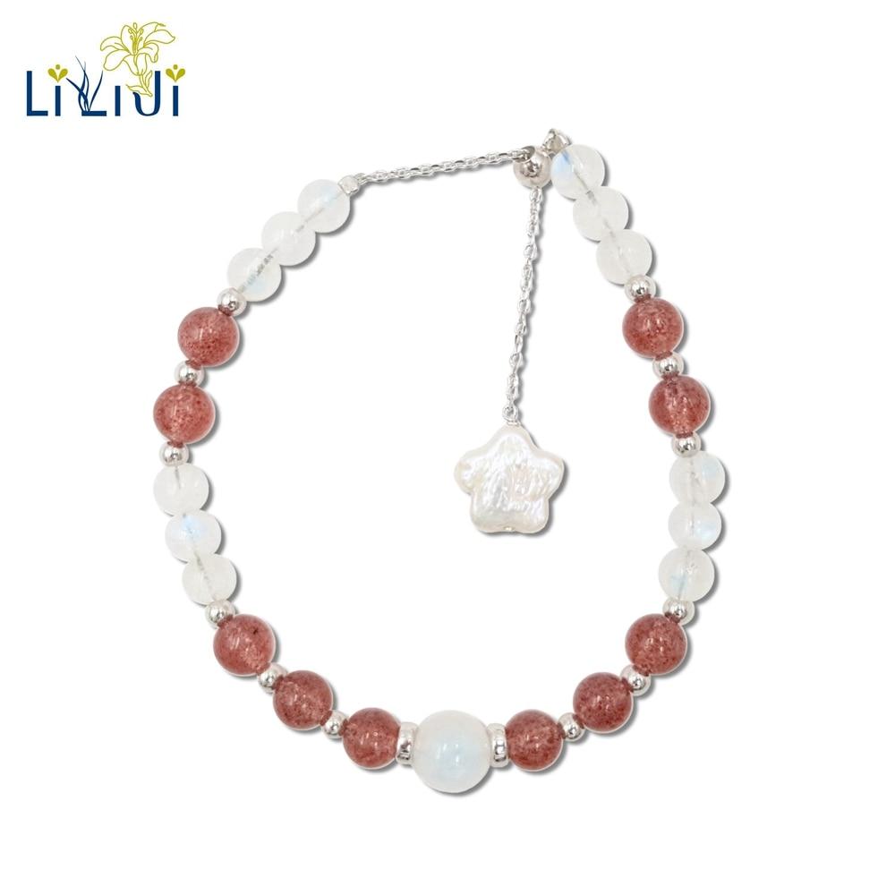 Lii Ji Natural Gemstone Moonstone,Strawberry Quartz,Freshwater Pearl 925 Sterling Silver 18K Gold Plated Unique Bracelet