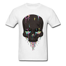 Summer Candy Drips Skull Men's T Shirt 2018 Discount Men's Top Quality O Neck 100% Cotton T-Shirt Birthday Tshirts(China)