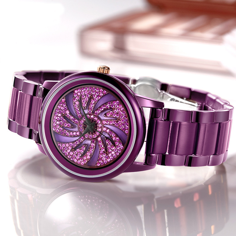 FUYIJIA Ladies Watch Women's Quartz Watch Lady Purple Steel Band Bracelet Watch Girl Clock Top Brand Luxury Rotating Reloj Mujer luxury women bracelet watch ladies girl stainless steel band analog quartz wrist watch ladeis dress watches clock reloj mujer