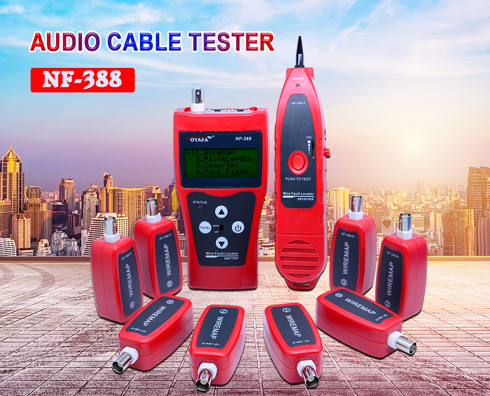 Top Quality Network cable tester Cable tracker RJ45 cable tester NF-388  English version Audio Cable Tester Red color NF_388