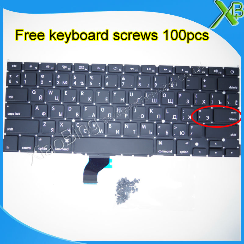 Brand New For MacBook Pro Retina 13 3 A1502 Small Enter RS Russian keyboard 100pcs keyboard