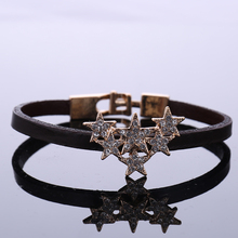 Star Bangles & Cuff Bracelets For Women Female Men Leather Black Rope AAA Cubic Zirconia Crystal Gift Wedding Jewelry Silver