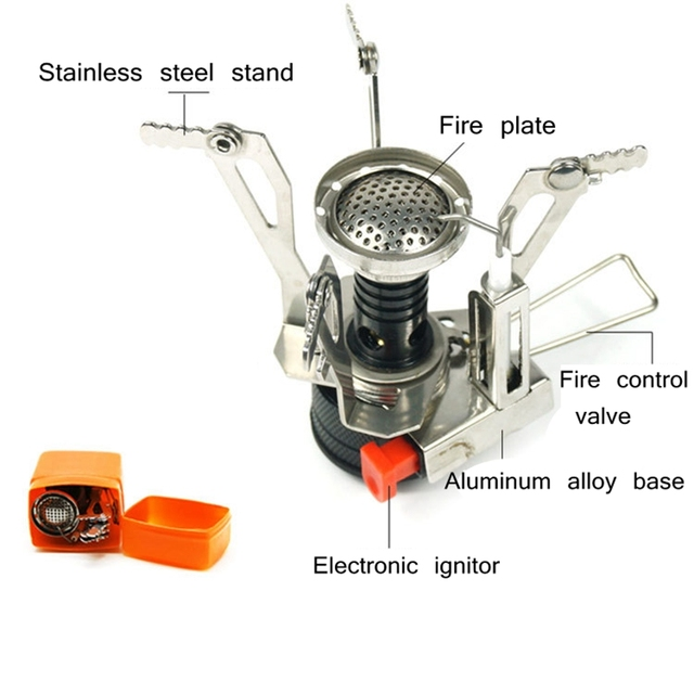 Outdoor Pot Mini Gas Stove Sets  Camping Hiking Cookware Picnic Cooking Set Non-stick Bowls With Foldable Spoon Fork Knife