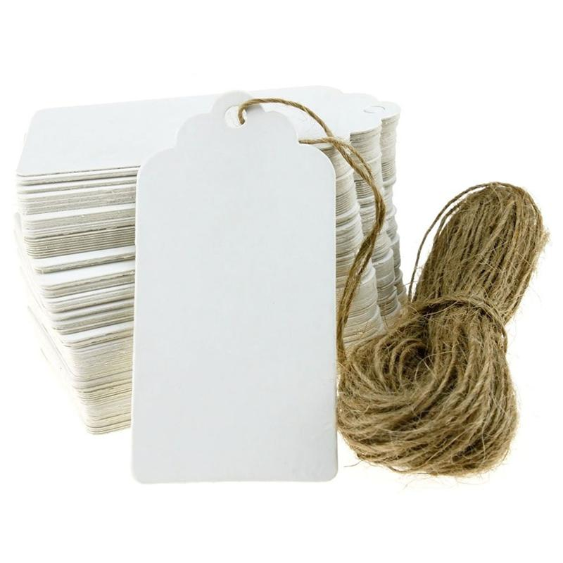 100pcs 90*45mm Scalloped Blank Kraft Paper Card / Wedding Favour Gift Tag / DIY Tag / Luggage Tag / Price Label