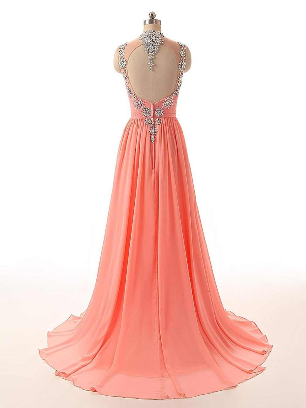 JaneVini נוצץ קריסטל נצנצים שיפון ארוך שושבינה שמלות לנשים קו הלטר ללא משענת לטאטא רכבת Robe מוסלין