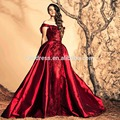 Charming Red Taffeta Party Gowns  Off the Shoulder Sleeveless Boat Neck Beads Embellished Plus Size Evening Dress