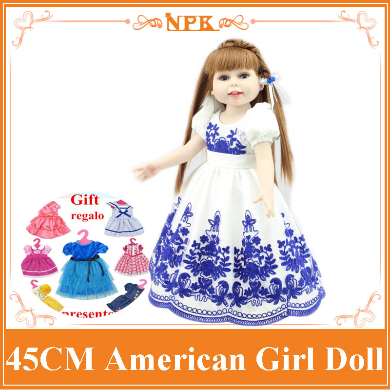 New Arrival 18 Inch American Girl Doll In Floral Blue Dress Used As Birthday Gift Brinquedos And for American Valentine's Day kids tracksuit boys clothing 4 13t children s sports suits hooded children clothing suit for boys teenage girls clothing fashion