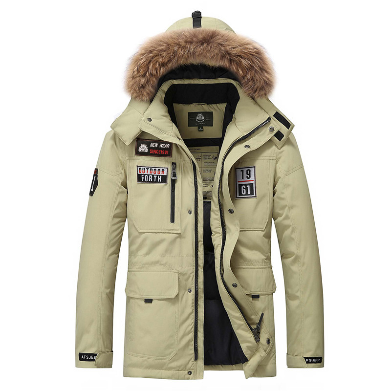 AFS JEEP Men's White Duck Down Jacket With Fur Hood  Mens Brand Fashion Winter Jacket Coat Casual Warm Jacket Men Down Parka