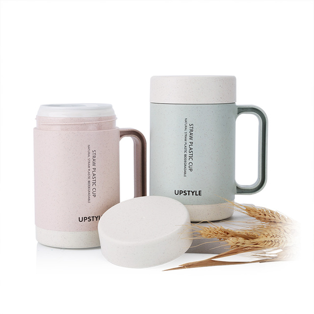 New 350ml Double Ceramic Cup Coffee Mug With Lid Biodegradable Wheat Straw Tea Travel Water Bottle
