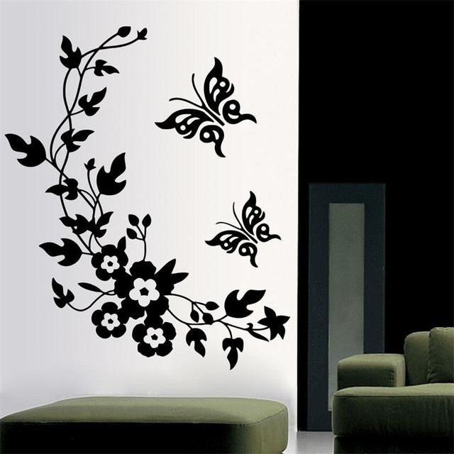 Classic Black Flower Pegatinas Depared With Butterfly Home Decor Wedding  Decoration Wall Stickers For TV Wall