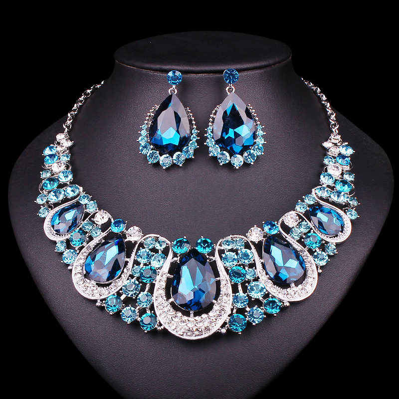 fashion bridal accessories pendant  statement necklaces Crystal jewelry/Earrings for women jewelry sets Free Shipping