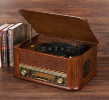 HiFi Record Player Retro LP Vinyl Turntable Stereo System, FM Radio, CD, Cassette Tape, USB for MP3, Vinyl-to-MP3 Recording