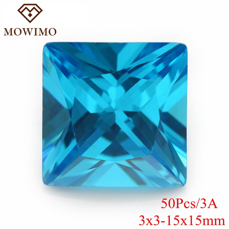 MOWIMO 50Pcs 3*3-15*15mm Sky Blue Square Beads Brilliant Cubic Zirconia Stones Loose CZ Shiny Gems Bead For Jewelry making DIY