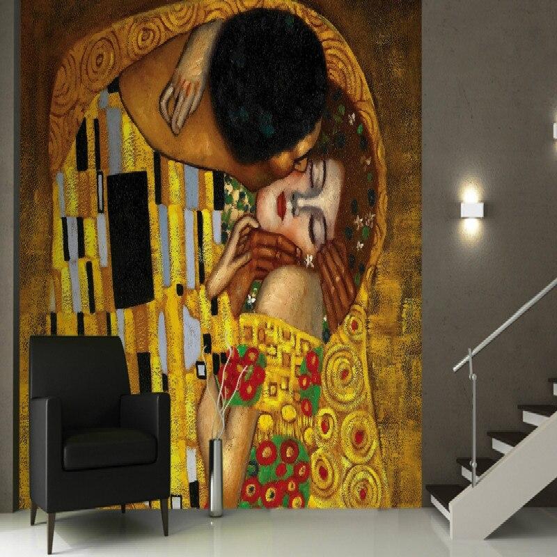 Mural Gustav Klimt the Kiss Wall 3d Mural wallpaper for walls tv background Large mural living room paper wallpaper bedroom