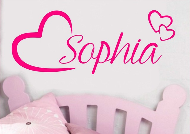 Personalised Name Wall Art Love Hearts Vinyl Sticker Girls Room Bedroom  Nursery Room Decor Baby Wall