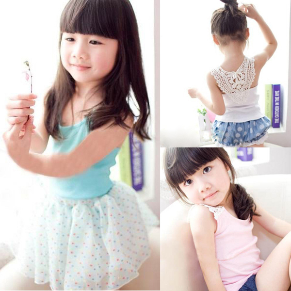 Kids Girl Crochet Hollow Out Floral Tank Tops Tee Shirts Vest Candy Color 0-3Y