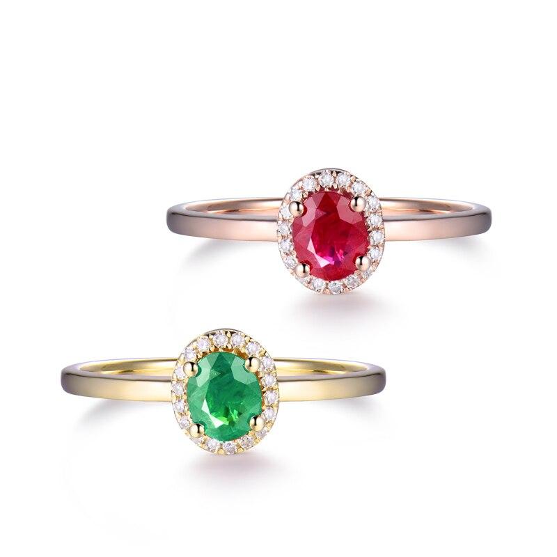 14kt or jaune anneaux pour femmes éternité amour bague de fiançailles naturel ovale émeraude rubis pierres précieuses diamants dame bijoux en Stock - 2