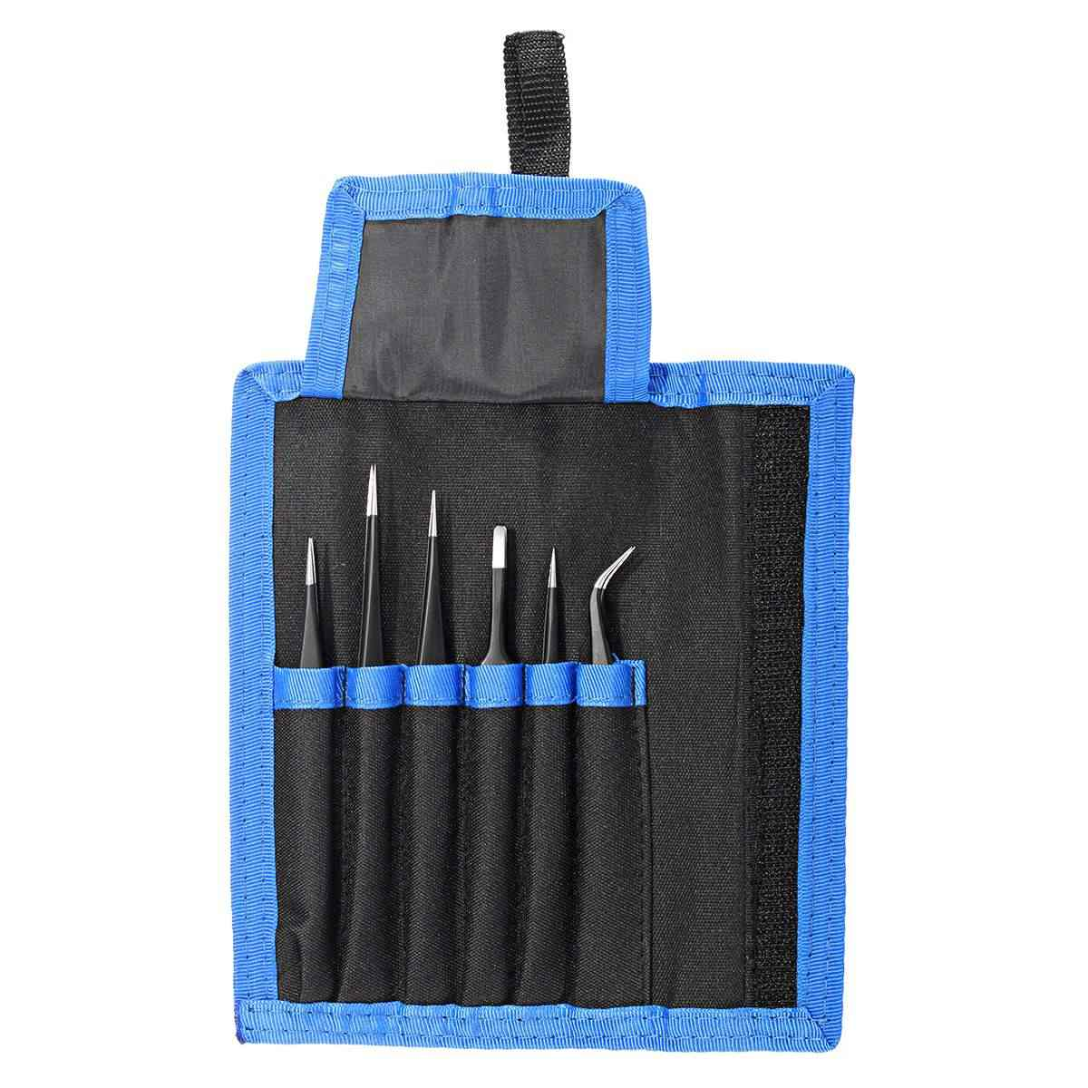 6Pcs Safe Anti-static Tweezers Maintenance Repair Nippers Forceps Tools Kit ESD10-15