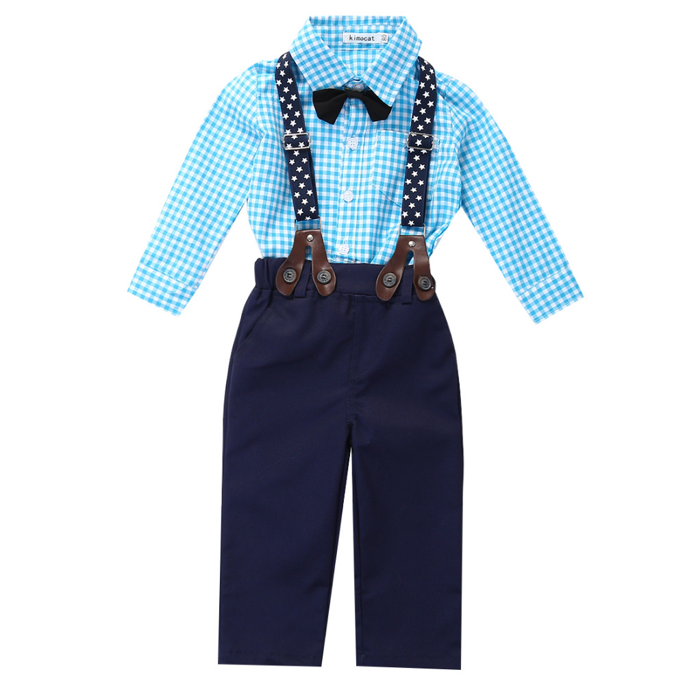 2016 Outfits!! Baby Boy Autumn Plaid Shirt +Suspender Pants Formal Wedding Outfits Infant Bodysuit Baby Boy Clothes