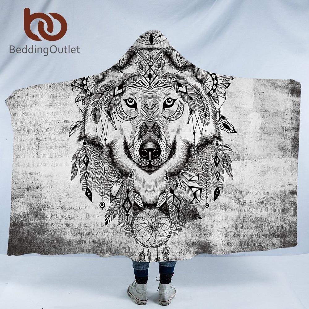 beddingoutlet wolf hooded blanket tribal animal dreamcatcher sherpa wearable blanket adults. Black Bedroom Furniture Sets. Home Design Ideas