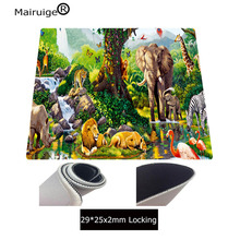 Mairuige Printed Green Forest Largest Animal Kingdom Super Large Size Thick Mouse Pad 400X900 Game Player Exclusive Rubber Mat