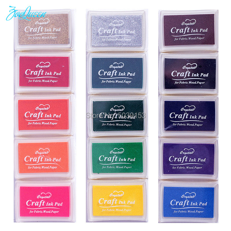 2 sets Stamp DIY Craft Ink Pad Stamps for Paper Wood Fabric Scrapbooking