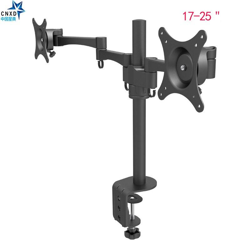 Support d'écran de TV d'ordinateur de plein mouvement de bâti de bureau de bras de Double moniteur pivotant et rotation Double support de moniteur de 17-25 pouces