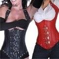Envío gratis Sexy Gothic Lace up ramillete de cuero de imitación de acero Boned Corset negro rojo Steam Punk Bustiers Tops