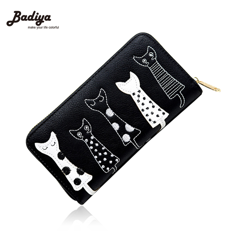 New Fashion Women Wallets Female Cards Holders Cartoon Cat PU Wallet Coin Purses Girl Long Wallet Elegant Lady Wallets