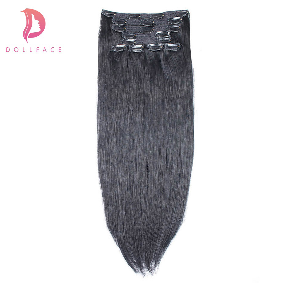 Dollface Straight Clip In Human Hair Extensions Brazilian Remy Hair Clips Ins  140g/10pcs 1# #1B #2 #4 #27 #613