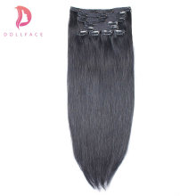 dollface Straight Clip in Human Hair Extensions Brazilian Remy Hair Clips ins 140g/10pcs 1# #1B #2 #4 #27 #613(China)