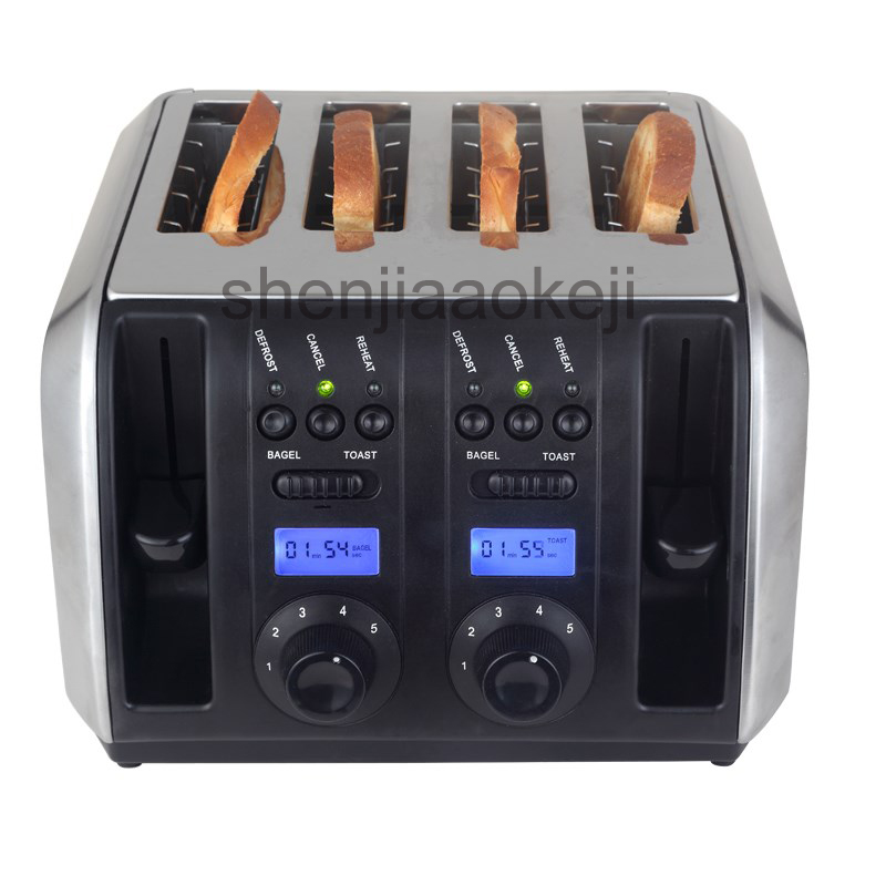 Household Stainless Steel toaster baking machine Commerical Multifunctional toaster 4 slices toaster 220v/50HZ 1750w 1pc цена и фото