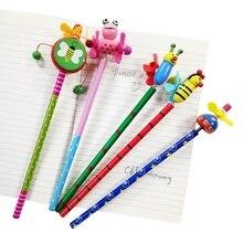 12 adet/grup yeni fırıldak hayvan bebek tasarımları toksik olmayan kurşun ücretsiz ahşap yazma kaynağı okul öğrencileri için HB kalem toptan