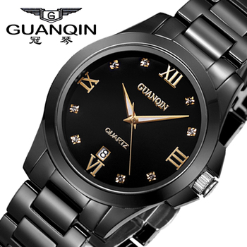 GUANQIN Ceramic Watch Men 2020 Famous Brand Men's Quartz Watches Black Style Waterproof Male Clock relogio masculino