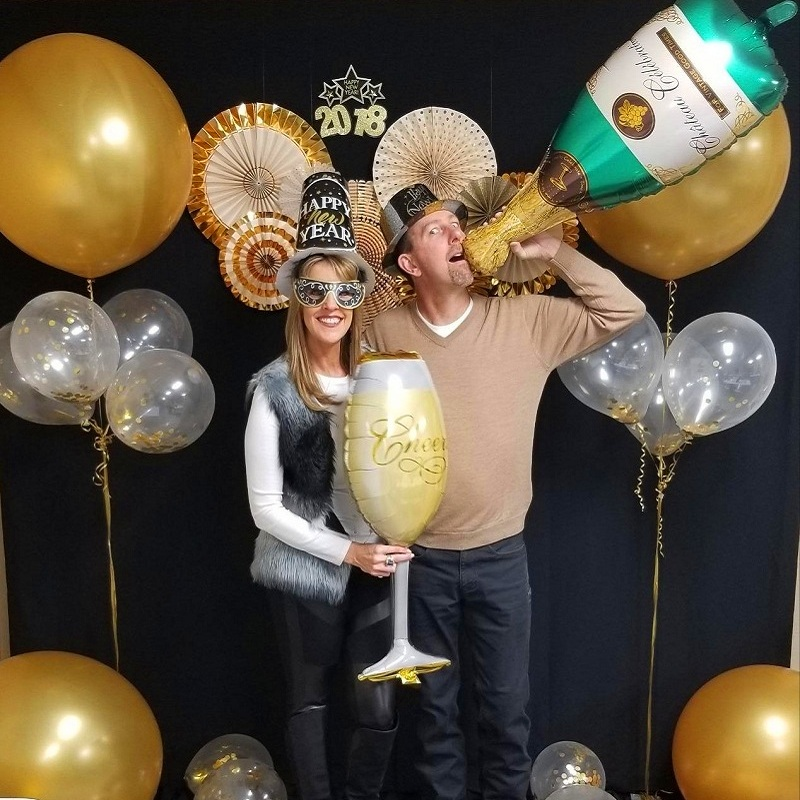 1st Wedding Anniversary Decoration Ideas At Home: 1pcs Wedding Anniversary Party Foil Balloons Champagne