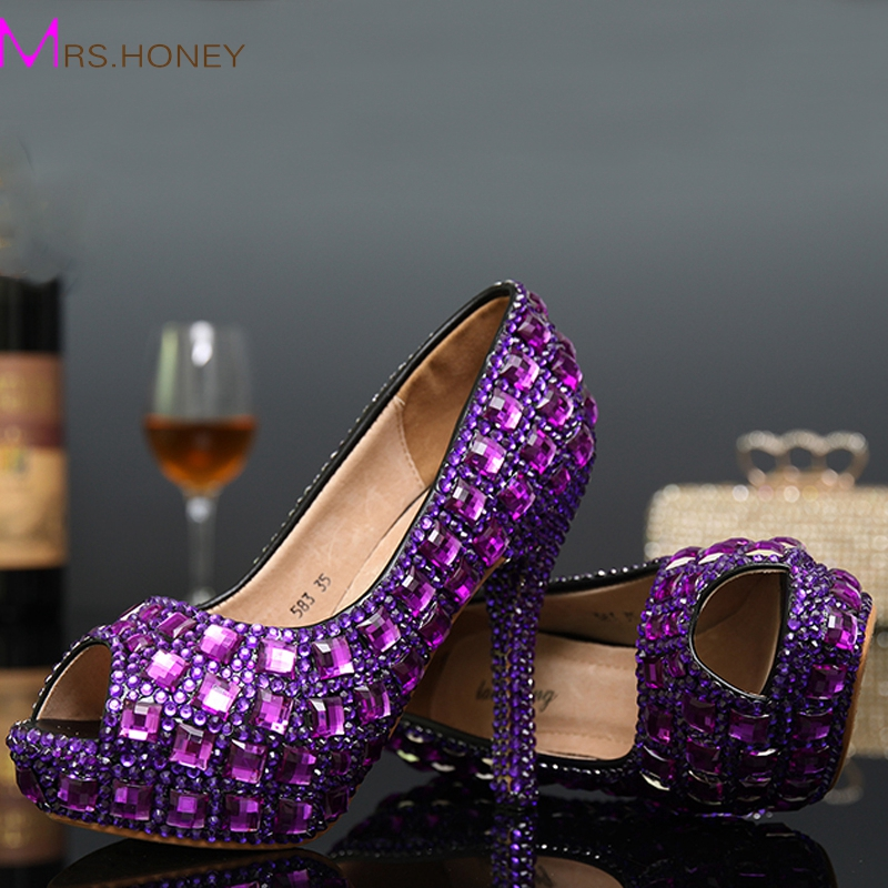 Fashion Purple Women High heels Pumps Peep Toe Sexy Crystal Rhinestone Shoes Platform Cone Heels Wedding Dress Shoes Party Shoes shoes women high heels sexy wedges platforms glitter diamond shoes wedding shoes rhinestone heels party shoes pumps