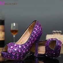 Fashion Purple Women High heels Pumps Peep Toe Sexy Crystal Rhinestone Shoes Platform Cone Heels Wedding Dress Shoes Party Shoes