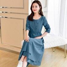 2019 Spring New Slim Long-sleeved Dress Korean Temperament lady Simple Elegant Drawstring Waist Womens Clothing