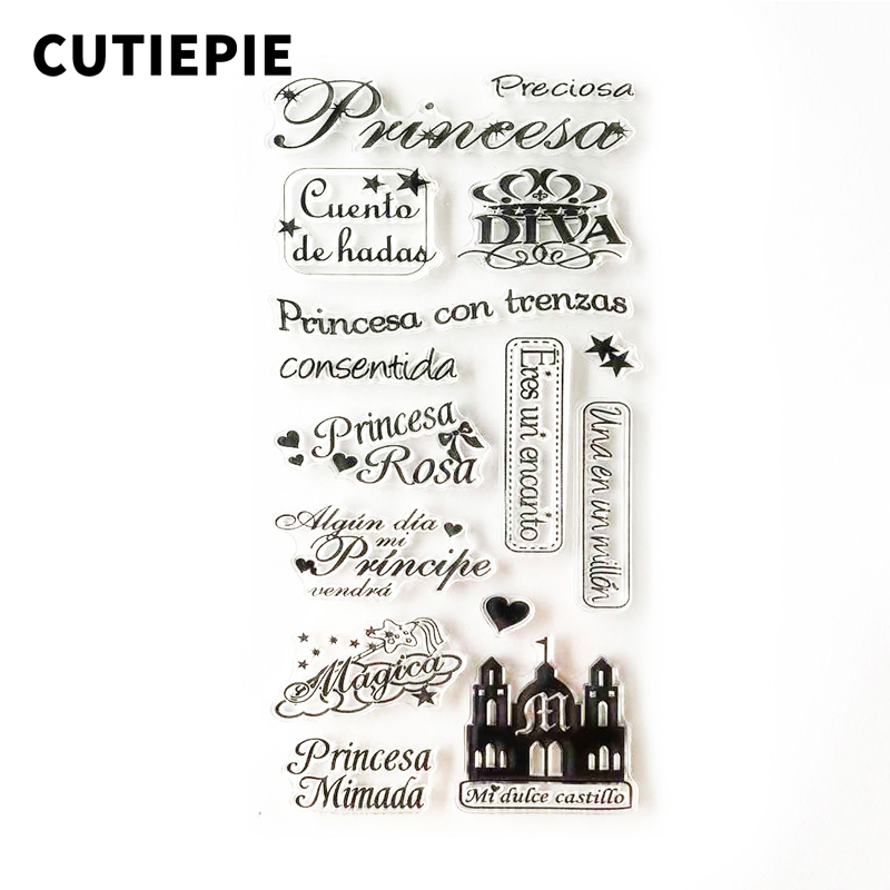 Princesa Rosa Spanish Words Transparent Clear Stamp DIY Silicone Seals for Scrapbooking Card Making Photo Album Embossing Folder in Stamps from Home Garden