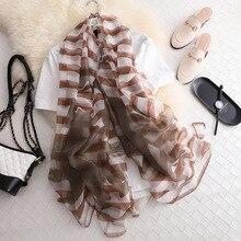 REALSISHOW Summer Womens Chiffon Scarf Crab Stripe Print Shawls Long Soft Silk  Ins Girl Hijab Best Gift