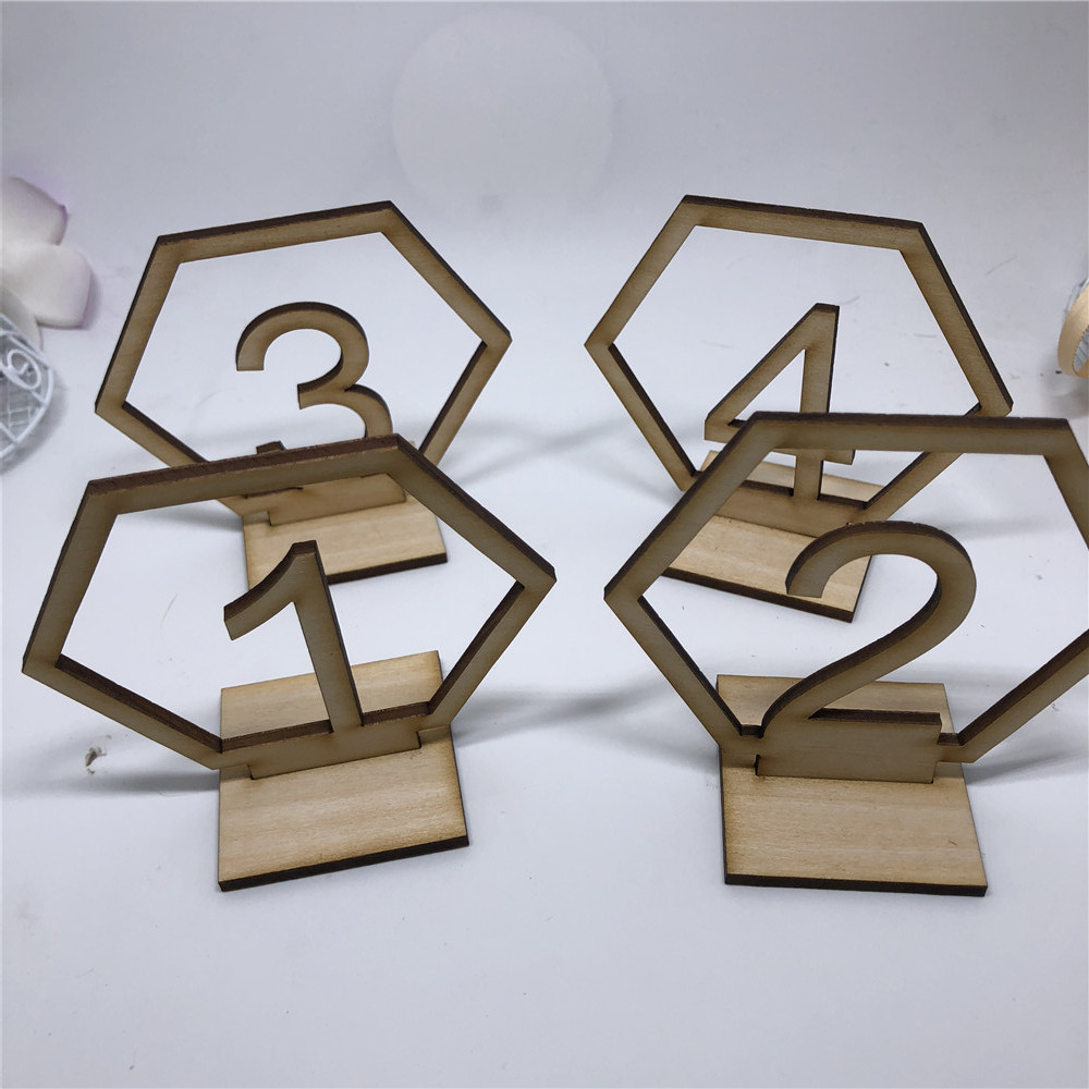Personalized Wedding Hexagon Table Numbers Wooden Table Number Rustic Table Stand Sign Wedding Decor Event Party Supplies