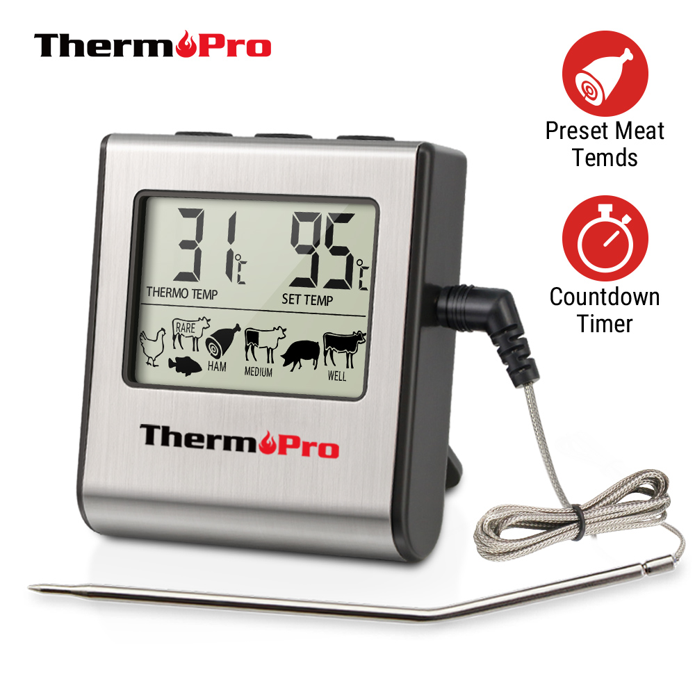 Thermopro TP16 LCD Digital Cooking Kitchen Food Meat Thermometer for Grill Oven Smoker Clock Timer with Stainless Steel Probe(China)