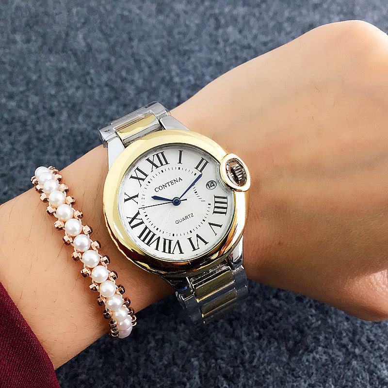 Contena Women Datejust Watches Luxury Silver Stainless Steel Wristwatch Lady Dress Watch Quartz Clock hodinky relogio feminino xinge top brand luxury women watches silver stainless steel dress quartz clock simple bracelet watch relogio feminino