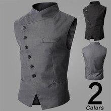 Мужской жилет, модный брендовый мужской жилет, высокое качество, черный, серый цвет, деловой стиль, мужские костюмы и блейзер для мужчин, Новое поступление Y1