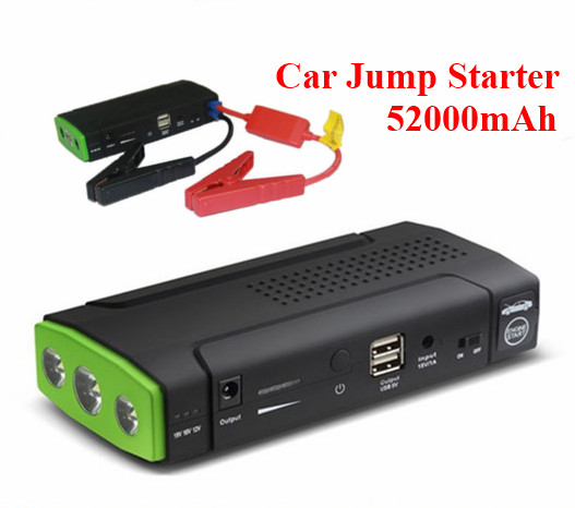 2016 Mini Multifunction 52000mAh 12V Car Jump Starter 2USB Power Bank 400A Peak Current Car Battery