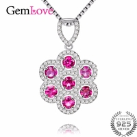 Gemlove Flowers 1 4ct Pyrope 925 Sterling Silver Garnet Birthstone Red Necklace Pendants For Women Girls